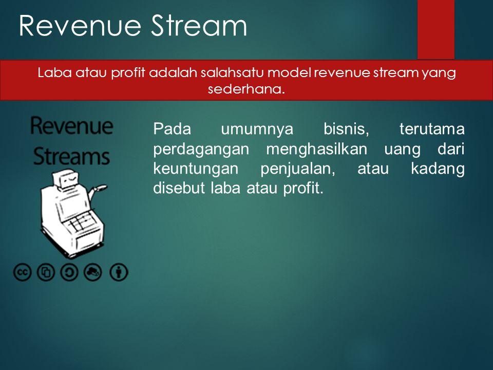 Revenue Stream Pada umumnya bisnis, terutama perdagangan menghasilkan uang dari keuntungan penjualan, atau kadang disebut laba atau profit. Laba atau