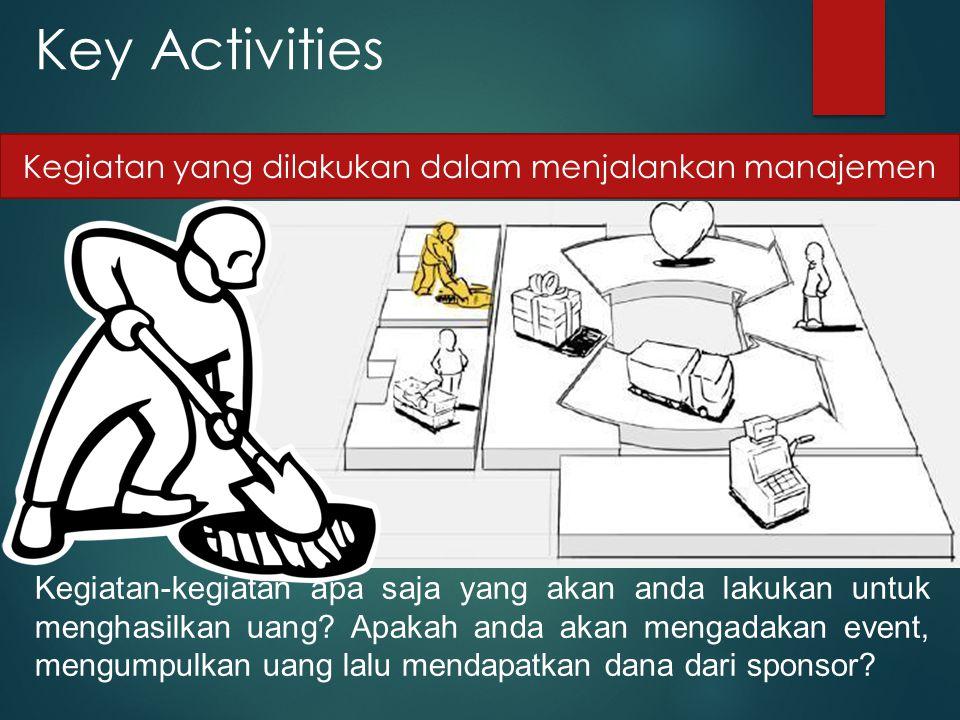 Key Activities Kegiatan-kegiatan apa saja yang akan anda lakukan untuk menghasilkan uang? Apakah anda akan mengadakan event, mengumpulkan uang lalu me