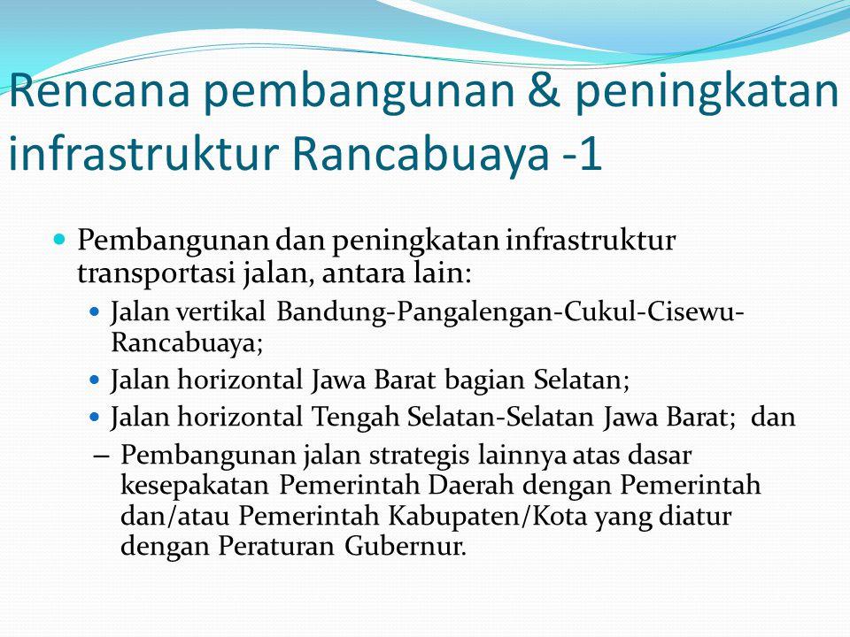 Rencana pembangunan & peningkatan infrastruktur Rancabuaya -1 Pembangunan dan peningkatan infrastruktur transportasi jalan, antara lain: Jalan vertika