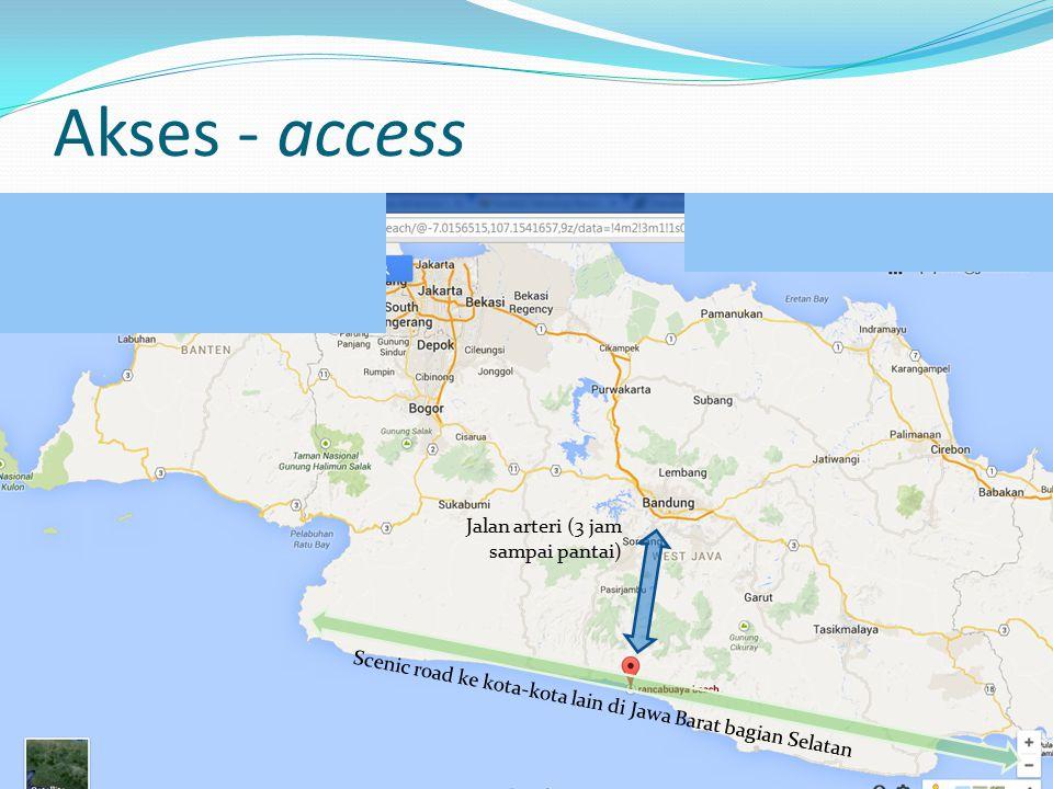 Akses - access Jalan arteri (3 jam sampai pantai) Scenic road ke kota-kota lain di Jawa Barat bagian Selatan