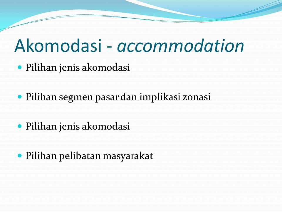 Akomodasi - accommodation Pilihan jenis akomodasi Pilihan segmen pasar dan implikasi zonasi Pilihan jenis akomodasi Pilihan pelibatan masyarakat