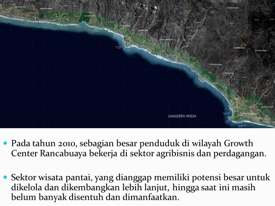 Pada tahun 2010, sebagian besar penduduk di wilayah Growth Center Rancabuaya bekerja di sektor agribisnis dan perdagangan. Sektor wisata pantai, yang