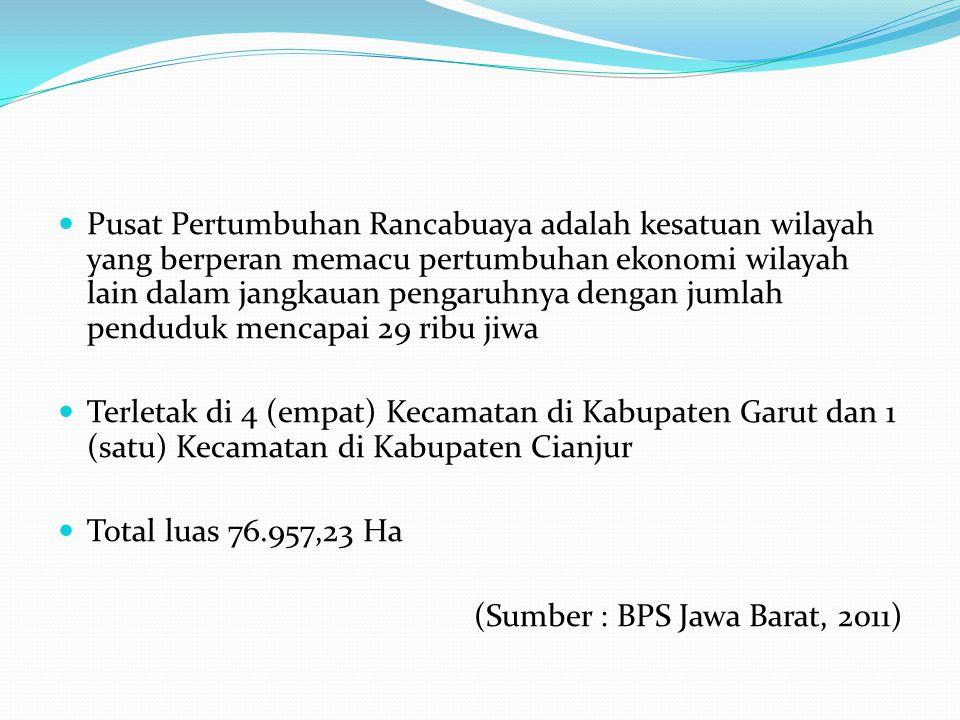 Peraturan Daerah Provinsi Jawa Barat Nomor 12 Tahun 2014 Wilayah Pusat Pertumbuhan Rancabuaya sampai dengan tahun 2050 mencakup 5 (lima) kecamatan, yaitu: 4 (empat) kecamatan di Kabupaten Garut yakni Kecamatan Caringin, Kecamatan Cisewu, Kecamatan Bungbulang Kecamatan Mekarmukti 1 (satu) kecamatan di Kabupaten Cianjur yakni Kecamatan Cidaun.