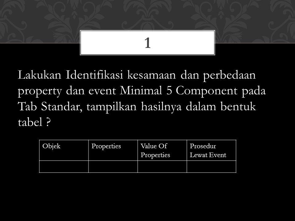 Lakukan Identifikasi kesamaan dan perbedaan property dan event Minimal 5 Component pada Tab Standar, tampilkan hasilnya dalam bentuk tabel .
