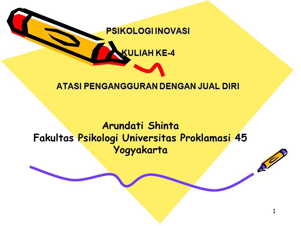 1 PSIKOLOGI INOVASI KULIAH KE-4 ATASI PENGANGGURAN DENGAN JUAL DIRI Arundati Shinta Fakultas Psikologi Universitas Proklamasi 45 Yogyakarta