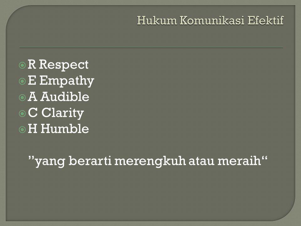  R Respect  E Empathy  A Audible  C Clarity  H Humble yang berarti merengkuh atau meraih