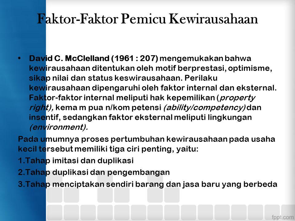 Faktor-Faktor Pemicu Kewirausahaan David C. McClelland (1961 : 207) mengemukakan bahwa kewirausahaan ditentukan oleh motif berprestasi, optimisme, sik