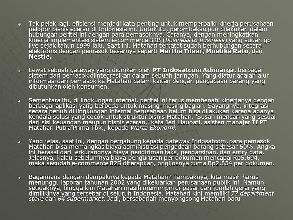  Tak pelak lagi, efisiensi menjadi kata penting untuk memperbaiki kinerja perusahaan pelopor bisnis eceran di Indonesia ini. Untuk itu, perombakan pu