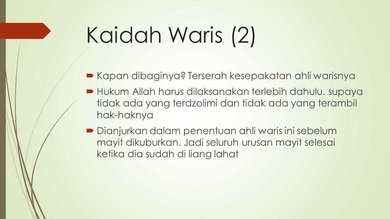 Kaidah Waris (2)  Kapan dibaginya.