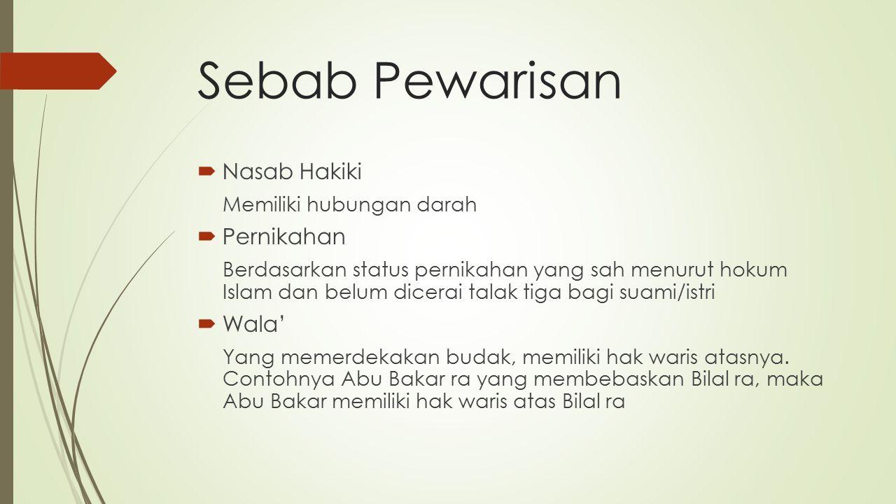 Sebab Pewarisan  Nasab Hakiki Memiliki hubungan darah  Pernikahan Berdasarkan status pernikahan yang sah menurut hokum Islam dan belum dicerai talak tiga bagi suami/istri  Wala' Yang memerdekakan budak, memiliki hak waris atasnya.