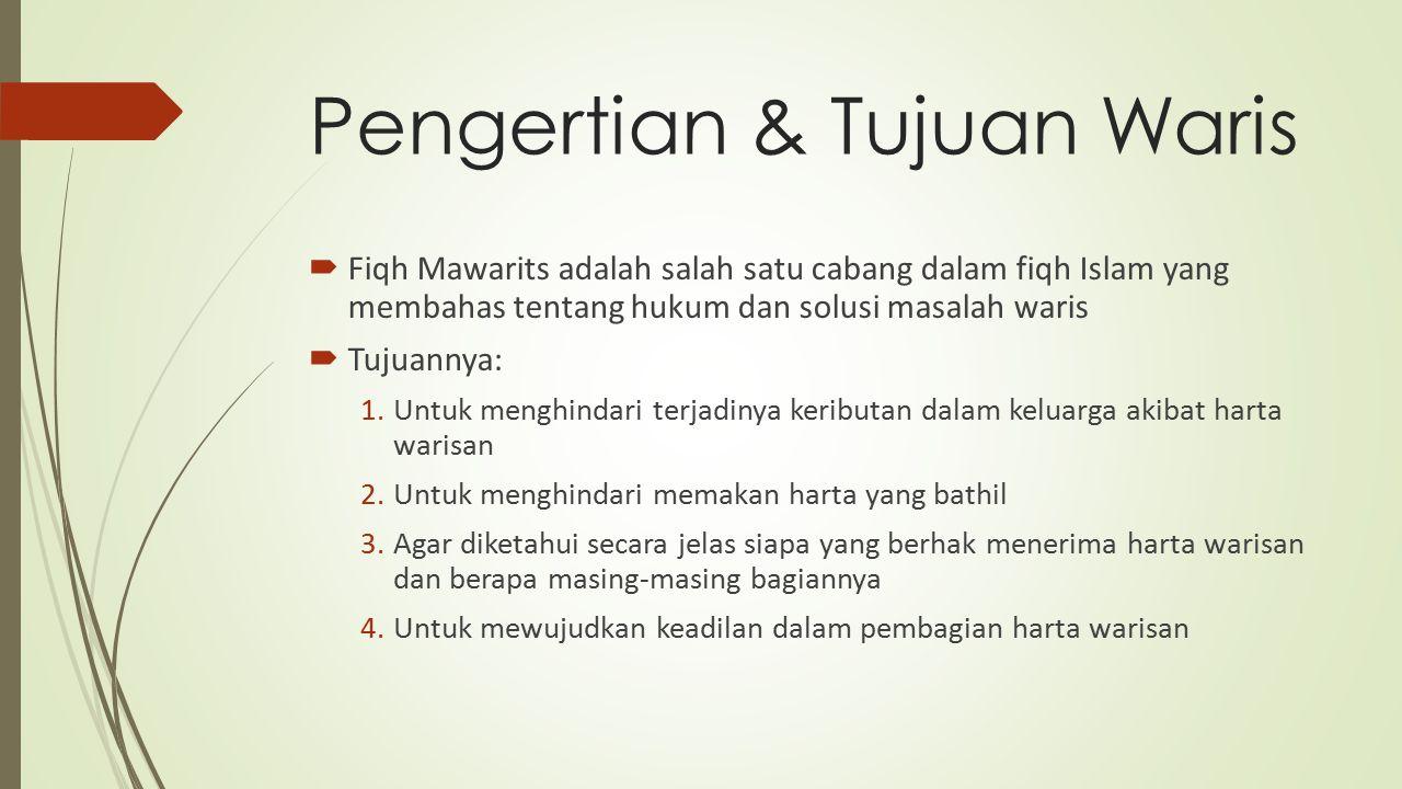 Pengertian & Tujuan Waris  Fiqh Mawarits adalah salah satu cabang dalam fiqh Islam yang membahas tentang hukum dan solusi masalah waris  Tujuannya: 1.Untuk menghindari terjadinya keributan dalam keluarga akibat harta warisan 2.Untuk menghindari memakan harta yang bathil 3.Agar diketahui secara jelas siapa yang berhak menerima harta warisan dan berapa masing-masing bagiannya 4.Untuk mewujudkan keadilan dalam pembagian harta warisan
