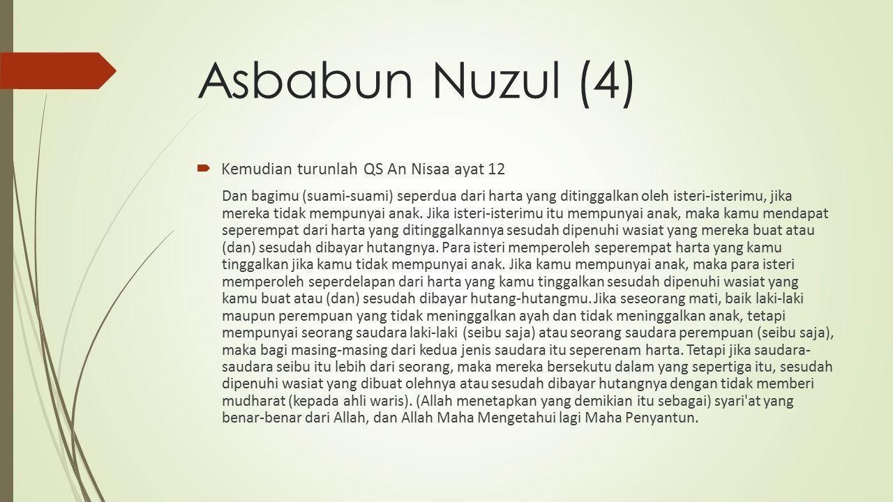Asbabun Nuzul (4)  Kemudian turunlah QS An Nisaa ayat 12 Dan bagimu (suami-suami) seperdua dari harta yang ditinggalkan oleh isteri-isterimu, jika mereka tidak mempunyai anak.