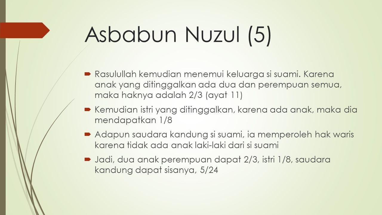 Asbabun Nuzul (5)  Rasulullah kemudian menemui keluarga si suami.
