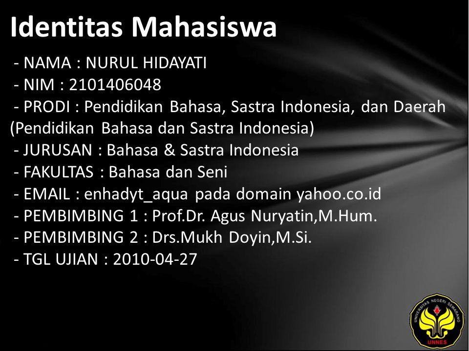 Identitas Mahasiswa - NAMA : NURUL HIDAYATI - NIM : 2101406048 - PRODI : Pendidikan Bahasa, Sastra Indonesia, dan Daerah (Pendidikan Bahasa dan Sastra