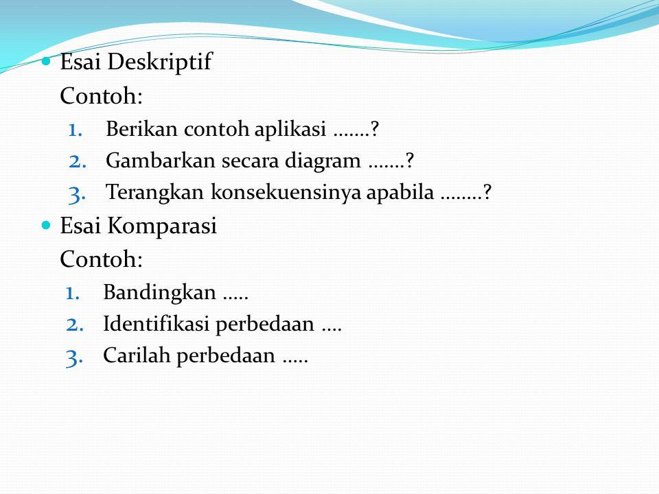 Esai Deskriptif Contoh: 1.Berikan contoh aplikasi ……..