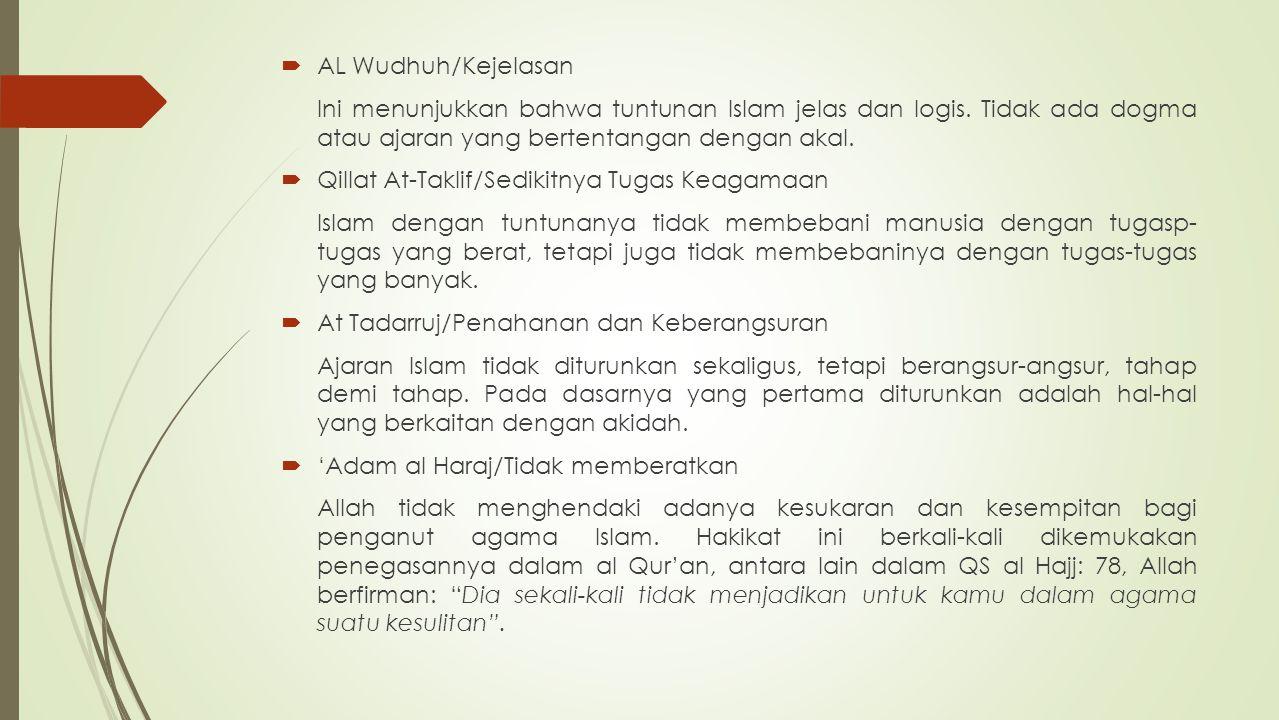  AL Wudhuh/Kejelasan Ini menunjukkan bahwa tuntunan Islam jelas dan logis. Tidak ada dogma atau ajaran yang bertentangan dengan akal.  Qillat At-Tak
