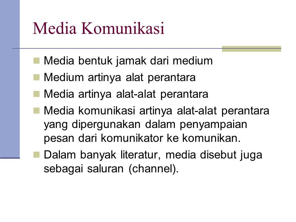 Media Komunikasi Media bentuk jamak dari medium Medium artinya alat perantara Media artinya alat-alat perantara Media komunikasi artinya alat-alat per