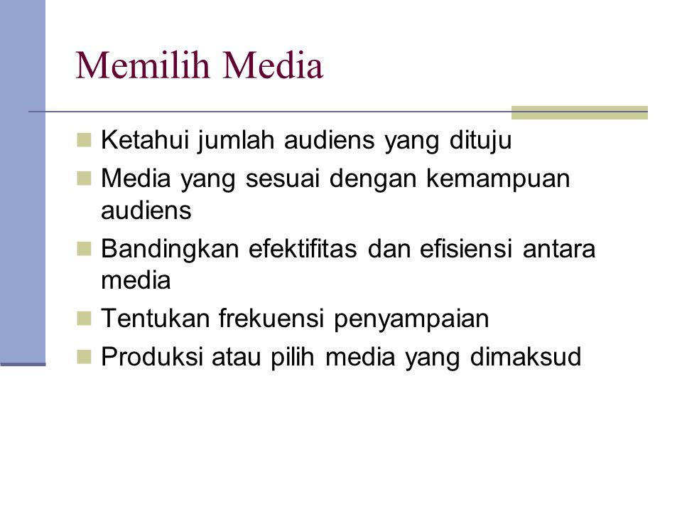 Memilih Media Ketahui jumlah audiens yang dituju Media yang sesuai dengan kemampuan audiens Bandingkan efektifitas dan efisiensi antara media Tentukan