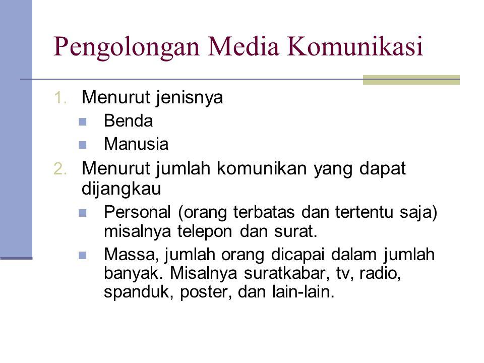Pengolongan Media Komunikasi 1. Menurut jenisnya Benda Manusia 2. Menurut jumlah komunikan yang dapat dijangkau Personal (orang terbatas dan tertentu