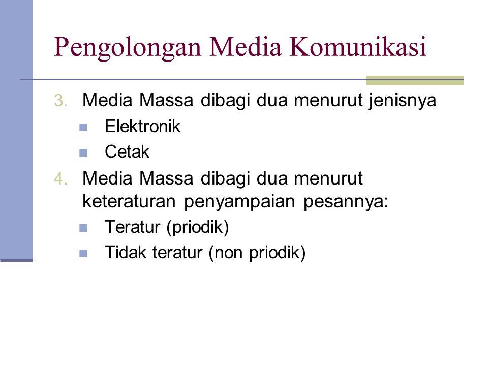 Pengolongan Media Komunikasi 3. Media Massa dibagi dua menurut jenisnya Elektronik Cetak 4. Media Massa dibagi dua menurut keteraturan penyampaian pes