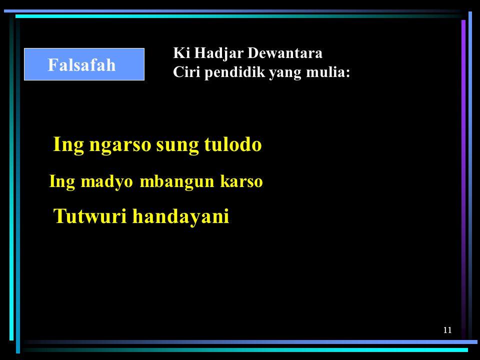 11 Ki Hadjar Dewantara Ciri pendidik yang mulia: Falsafah Ing ngarso sung tulodo Ing madyo mbangun karso Tutwuri handayani