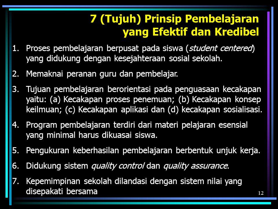12 7 (Tujuh) Prinsip Pembelajaran yang Efektif dan Kredibel 1.Proses pembelajaran berpusat pada siswa (student centered) yang didukung dengan kesejahteraan sosial sekolah.