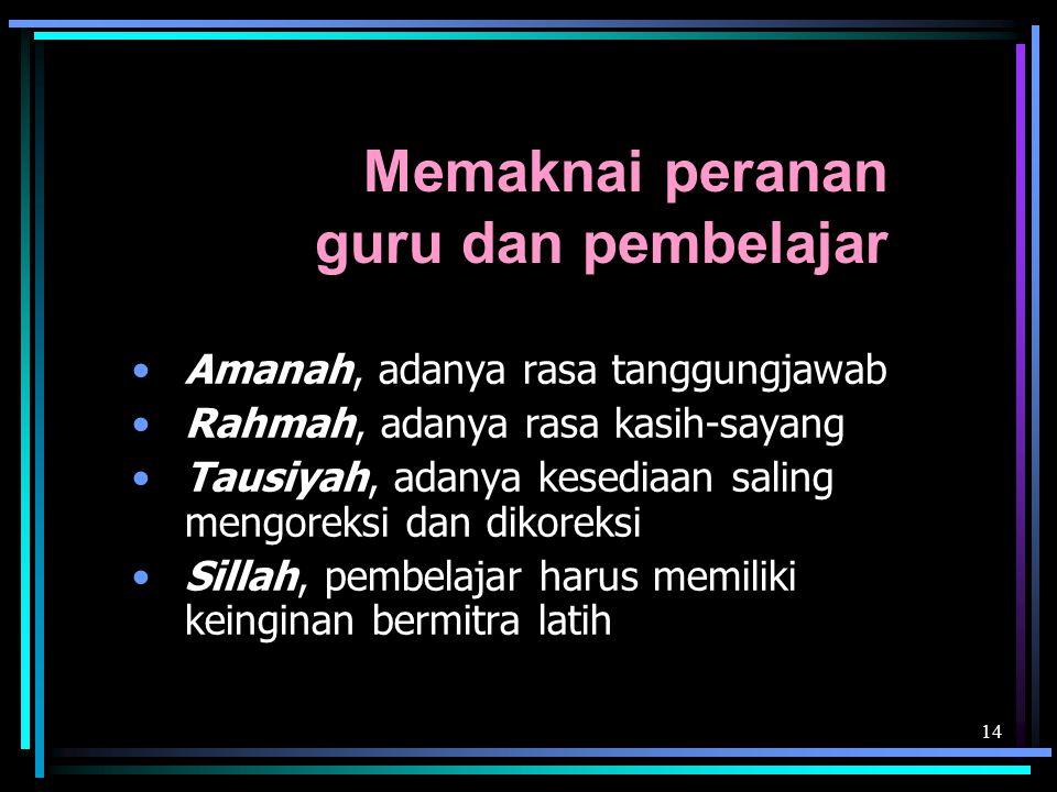 14 Memaknai peranan guru dan pembelajar Amanah, adanya rasa tanggungjawab Rahmah, adanya rasa kasih-sayang Tausiyah, adanya kesediaan saling mengoreksi dan dikoreksi Sillah, pembelajar harus memiliki keinginan bermitra latih