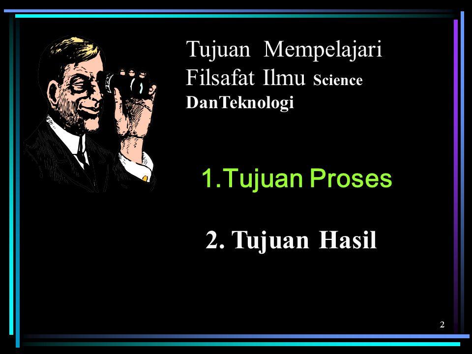 2 1.Tujuan Proses Tujuan Mempelajari Filsafat Ilmu Science DanTeknologi 2. Tujuan Hasil