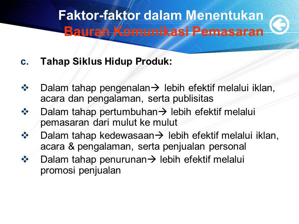 Faktor-faktor dalam Menentukan Bauran Komunikasi Pemasaran c.Tahap Siklus Hidup Produk:  Dalam tahap pengenalan  lebih efektif melalui iklan, acara