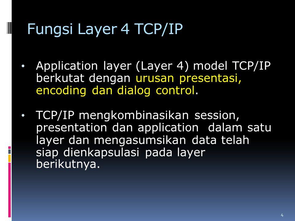 Fungsi Layer 4 TCP/IP Application layer (Layer 4) model TCP/IP berkutat dengan urusan presentasi, encoding dan dialog control. TCP/IP mengkombinasikan