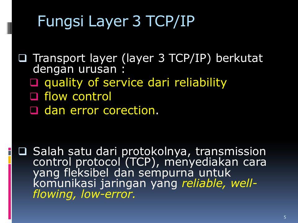 Fungsi Layer 3 TCP/IP  Transport layer (layer 3 TCP/IP) berkutat dengan urusan :  quality of service dari reliability  flow control  dan error corection.
