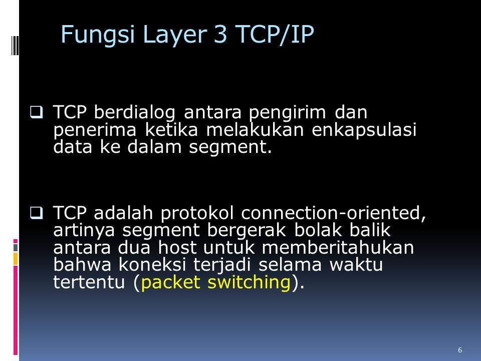 Fungsi Layer 3 TCP/IP  TCP berdialog antara pengirim dan penerima ketika melakukan enkapsulasi data ke dalam segment.  TCP adalah protokol connectio