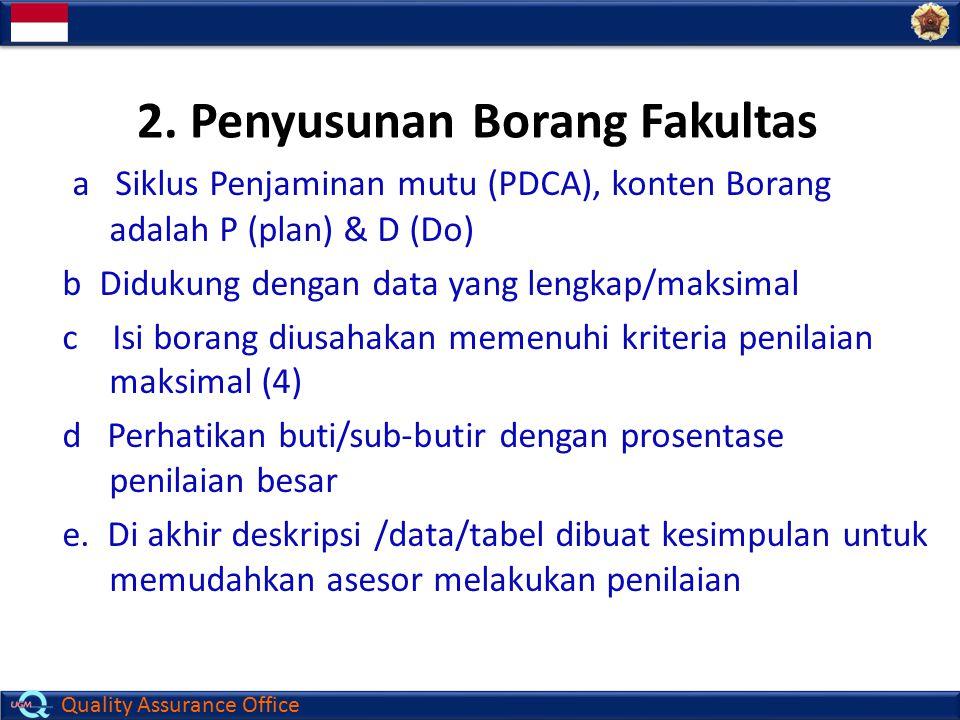 Quality Assurance Office a Siklus Penjaminan mutu (PDCA), konten Borang adalah P (plan) & D (Do) b Didukung dengan data yang lengkap/maksimal c Isi bo