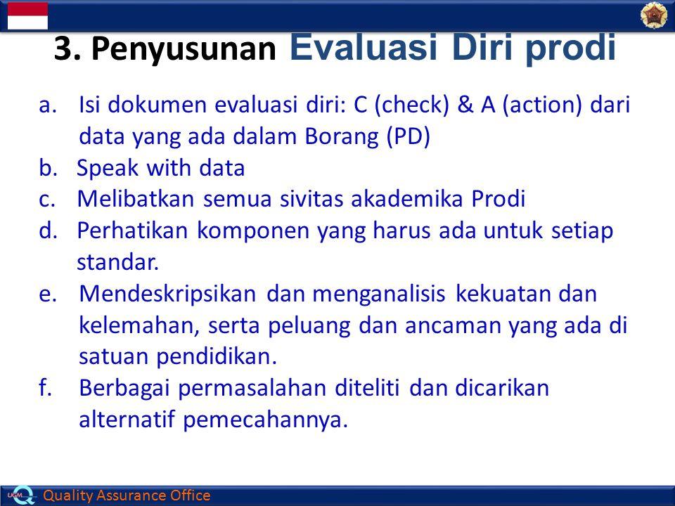 Quality Assurance Office a.Isi dokumen evaluasi diri: C (check) & A (action) dari data yang ada dalam Borang (PD) b.Speak with data c.Melibatkan semua