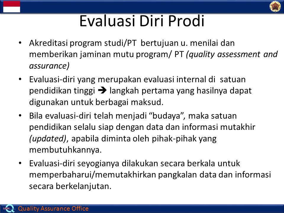 Quality Assurance Office Evaluasi Diri Prodi Akreditasi program studi/PT bertujuan u. menilai dan memberikan jaminan mutu program/ PT (quality assessm