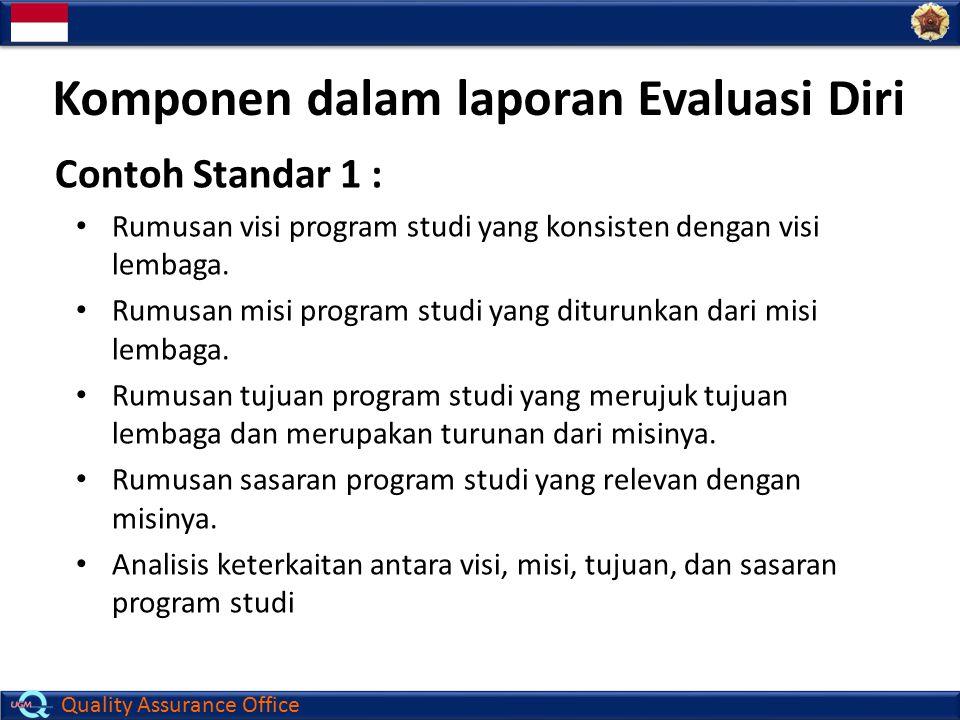 Quality Assurance Office Komponen dalam laporan Evaluasi Diri Contoh Standar 1 : Rumusan visi program studi yang konsisten dengan visi lembaga. Rumusa