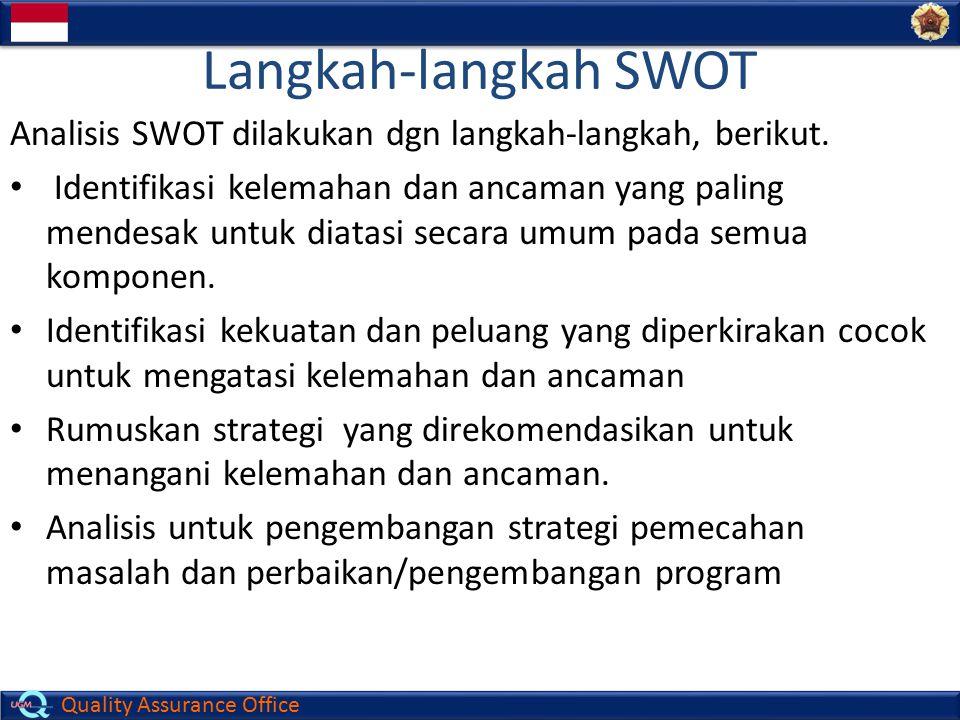 Quality Assurance Office Langkah-langkah SWOT Analisis SWOT dilakukan dgn langkah-langkah, berikut. Identifikasi kelemahan dan ancaman yang paling men