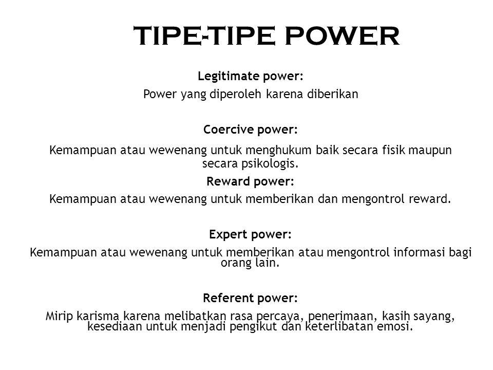 SUMBER POWER Position power: Power yang mengikuti posisi Personal power: Power yang mengikuti orangnya
