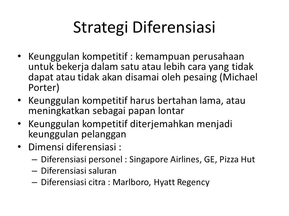 Strategi Diferensiasi Keunggulan kompetitif : kemampuan perusahaan untuk bekerja dalam satu atau lebih cara yang tidak dapat atau tidak akan disamai o