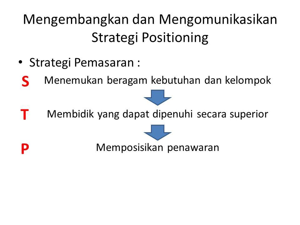 Mengembangkan dan Mengomunikasikan Strategi Positioning Strategi Pemasaran : Menemukan beragam kebutuhan dan kelompok Membidik yang dapat dipenuhi sec