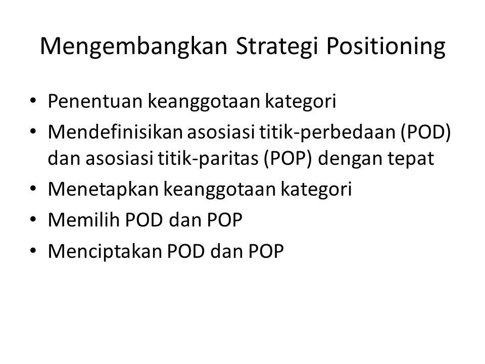 Mengembangkan Strategi Positioning Penentuan keanggotaan kategori Mendefinisikan asosiasi titik-perbedaan (POD) dan asosiasi titik-paritas (POP) denga