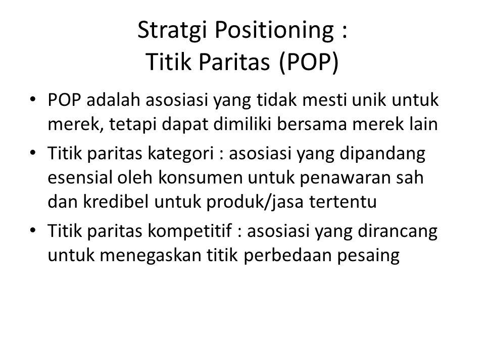 Stratgi Positioning : Titik Paritas (POP) POP adalah asosiasi yang tidak mesti unik untuk merek, tetapi dapat dimiliki bersama merek lain Titik parita