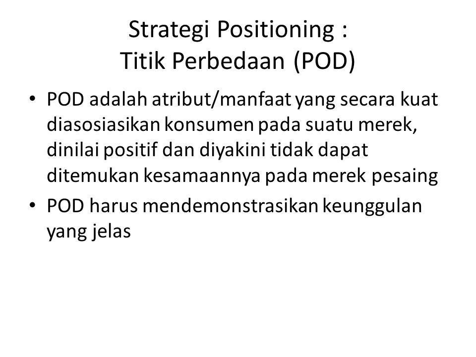 Strategi Positioning : Titik Perbedaan (POD) POD adalah atribut/manfaat yang secara kuat diasosiasikan konsumen pada suatu merek, dinilai positif dan