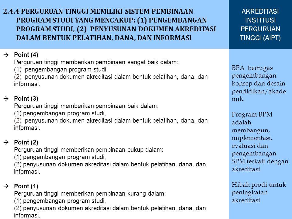 2.4.4 PERGURUAN TINGGI MEMILIKI SISTEM PEMBINAAN PROGRAM STUDI YANG MENCAKUP: (1) PENGEMBANGAN PROGRAM STUDI, (2) PENYUSUNAN DOKUMEN AKREDITASI DALAM BENTUK PELATIHAN, DANA, DAN INFORMASI AKREDITASI INSTITUSI PERGURUAN TINGGI (AIPT) BPA bertugas pengembangan konsep dan desain pendidikan/akade mik.