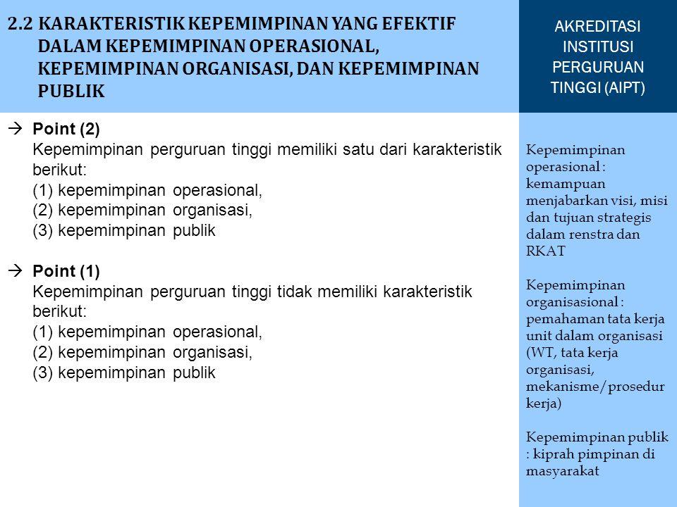 2.3.1 SISTEM PENGELOLAAN FUNGSIONAL DAN OPERASIONAL PERGURUAN TINGGI MENCAKUP FUNGSI PENGELOLAAN (PLANNING, ORGANIZING, STAFFING, LEADING, DAN CONTROLLING), YANG DILAKSANAKAN SECARA EFEKTIF UNTUK MEWUJUDKAN VISI DAN MELAKSANAKAN MISI PERGURUAN TINGGI AKREDITASI INSTITUSI PERGURUAN TINGGI (AIPT) Planning : perencanaan dilakukan secara terstruktur oleh rektor Organizing : rektor dibantu oleh WR1, WR2, WR3 mengelola aktivitas, proses dan sumber daya yang dibutuhkan untuk meningkatkan efektivitas kinerja institusi.