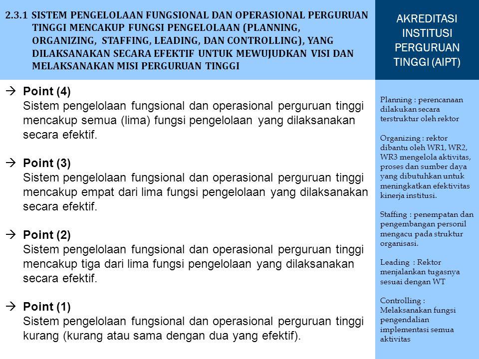 2.3.1 SISTEM PENGELOLAAN FUNGSIONAL DAN OPERASIONAL PERGURUAN TINGGI MENCAKUP FUNGSI PENGELOLAAN (PLANNING, ORGANIZING, STAFFING, LEADING, DAN CONTROL