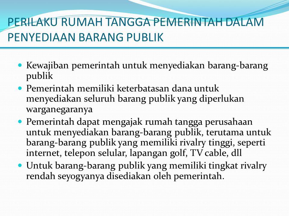 PERILAKU RUMAH TANGGA PEMERINTAH DALAM PENYEDIAAN BARANG PUBLIK Kewajiban pemerintah untuk menyediakan barang-barang publik Pemerintah memiliki keterb