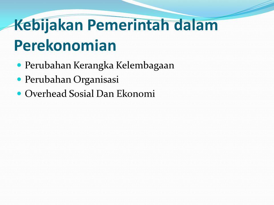 Kebijakan Pemerintah dalam Perekonomian Perubahan Kerangka Kelembagaan Perubahan Organisasi Overhead Sosial Dan Ekonomi