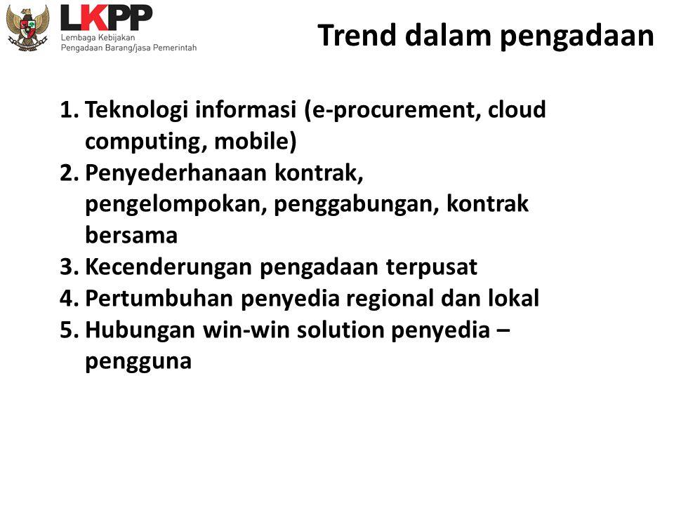 1.Teknologi informasi (e-procurement, cloud computing, mobile) 2.Penyederhanaan kontrak, pengelompokan, penggabungan, kontrak bersama 3.Kecenderungan