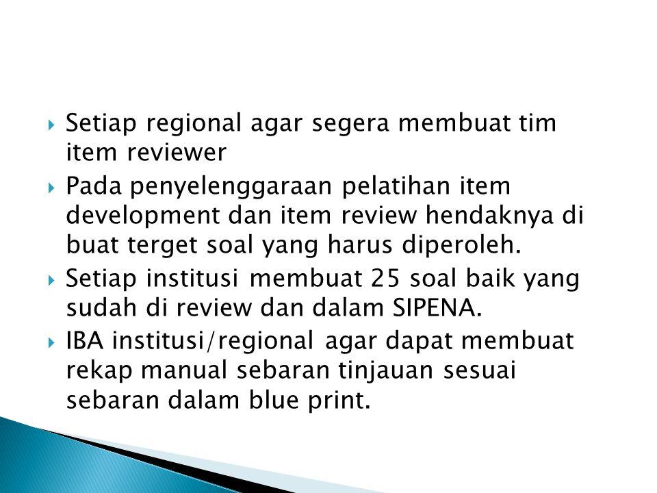  Setiap regional agar segera membuat tim item reviewer  Pada penyelenggaraan pelatihan item development dan item review hendaknya di buat terget soa